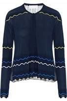 Peter Pilotto Metallic Silk Chiffon-Paneled Stretch-Knit Cardigan