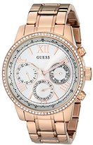 GUESS Women's U0559L3 Sporty Rose Gold-Tone Stainless Steel Watch with Multi-function Dial and Pilot Buckle