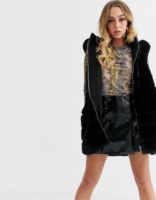 Jayley stripe faux fur vest with hood
