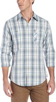 Haggar Men's Life Khaki Grid Plaid Poplin Long Sleeve Woven Shirt,Blue
