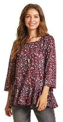 SONJA BETRO Women's Floral Printed Knit Ruffle Hem Tunic Top//