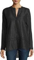 Neiman Marcus Linen Crochet-Trim High-Low Tunic, Black