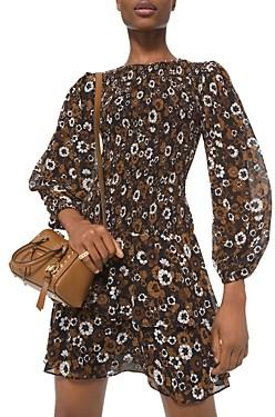 MICHAEL Michael Kors Floral Print Smocked Dress