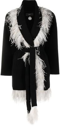 Alanui Feather Trim Belted Card-Coat