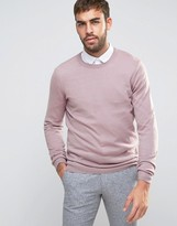 Asos Merino Wool Crew Neck Jumper In Pink Twist
