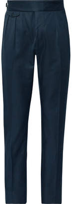 Zanella Midnight-Blue Normon Tapered Pleated Cotton And Linen-Blend Trousers