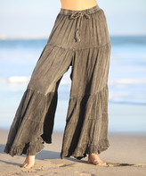 Ananda's Collection Women's Casual Pants GREY - Gray Ruffle-Trim Tie-Waist Palazzo Pants - Women