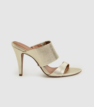 Reiss NELA LEATHER STRAP SANDALS Gold