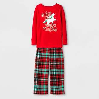 Cat & Jack Toddler Girls' Unicorn Pajama Set - Cat & JackTM Red