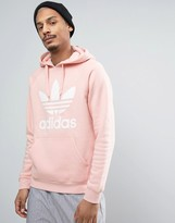 adidas Trefoil Logo Pullover Hoodie In Pink BQ5411