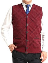 Cityelf Men's V-Neck Diamond Knitted Chunky Thermal Vest Waistcoat Sweater MJM0010