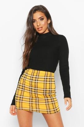 boohoo Tartan Check Basic Jersey Mini Skirt