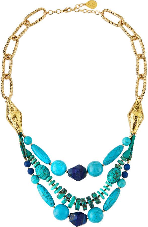 Devon Leigh Turquoise & Lapis Multi-Strand Necklace