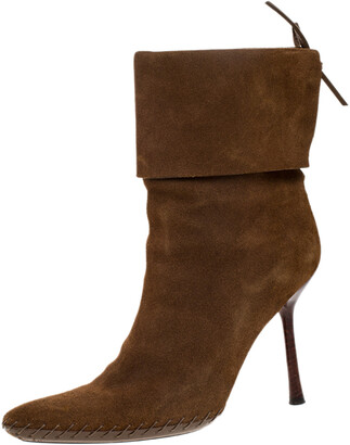 Gucci Camel Suede Leather Pointed Toe Ankle Boots Size 39