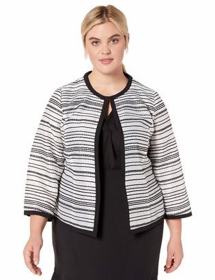 Kasper Women's Plus Size Sheer Stripes Jewel Neck Open Front Jacket