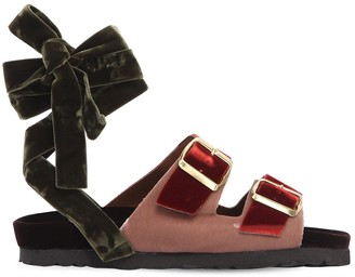 Couture Gia 30MM VELVET LACE-UP SANDALS