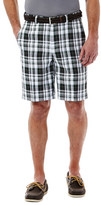 Haggar Cool 18 Large Plaid Short - Straight Fit, Flat Front, Expandable Waistband