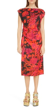 Dries Van Noten Deto Floral Print Midi Dress