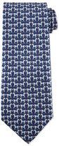 Salvatore Ferragamo Horse-Print Silk Tie, Blue
