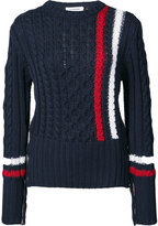 Thom Browne Aran Cable Crewneck Pullover With Vertical Intarsia Stripe In Navy Fine Merino Wool