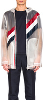 Thom Browne Diagonal Stripe Packable Rain Coat in White.
