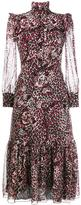 Saint Laurent tiger print ruffle dress - women - Silk - 40