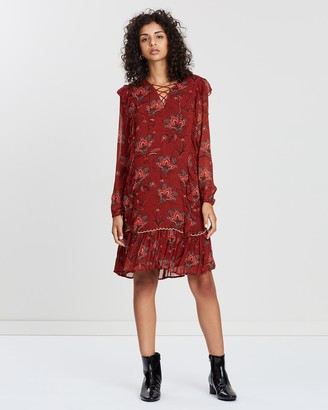 Scotch & Soda Drapey Dress With Tape And Ruffle Details