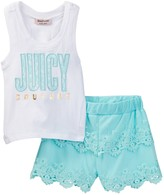 Juicy Couture Hi-Lo Tank & Lace Short Set (Toddler Girls)