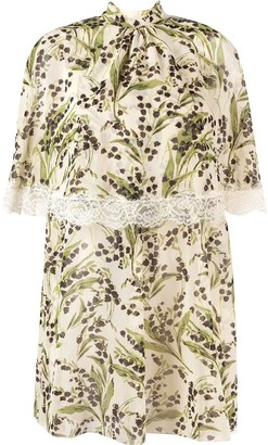 RED Valentino Cape-Effect Floral-Print Minidress
