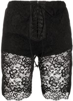 Unravel Project lace layered cycling shorts
