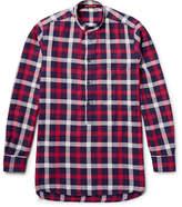 Barena Grandad-Collar Checked Cotton-Twill Shirt
