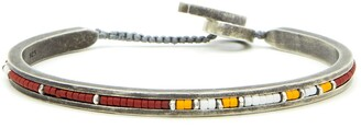 M. Cohen Square Bangle with Red Yellow White Beads