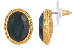 2028 Women's 14K Gold Dipped Blue Oval Stud Earrings