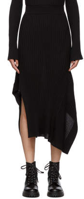 Stella McCartney Black Rib Knit Asymmetric Flared Skirt