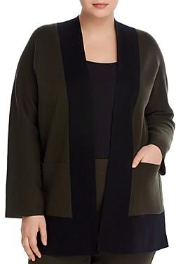 Eileen Fisher Plus Open Color-Block Cardigan