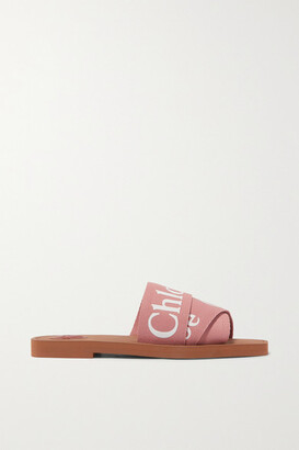 Chloé Woody Logo-print Canvas Slides - Blush
