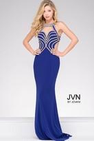 Jovani Halter Neck Embellished Bodice and Open Back Jersey Prom Dress JVN47009