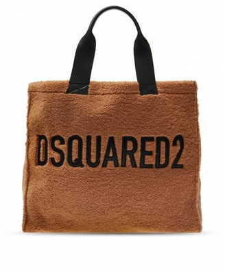 DSQUARED2 Light Brown Shearling Shopping Bag