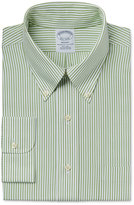 Brooks Brothers Men's Regent Classic-Fit Non-Iron Green Stripe Dress Shirt