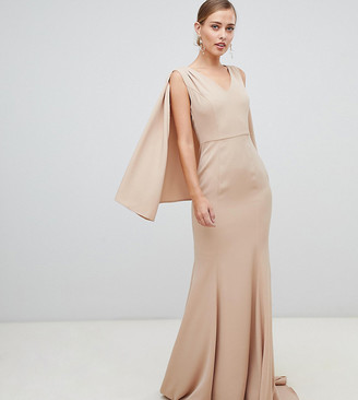 Yaura plunge front maxi dress with cape detail in taupe