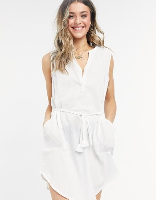 Figleaves Sicily sleeveless beach shirt dress in white