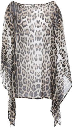 Roberto Cavalli Leopard-print Cotton And Silk-blend Voile Kaftan