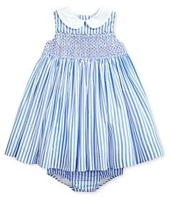 Ralph Lauren Girls' Cotton Poplin Smocked Stripe Dress & Bloomers Set - Baby
