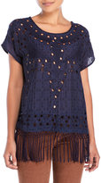Lucky Brand Cutout Fringe Top