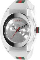 Gucci Sync Unisex Swiss White Striped Rubber Strap Watch 46mm YA137102