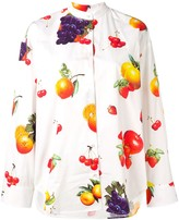 MSGM mandarin collar fruit print shirt