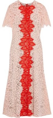 Lela Rose Two-tone Corded Lace Midi Dress