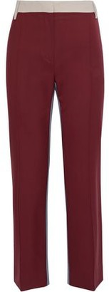 Valentino Color-block Wool-blend Straight-leg Pants