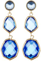 Rivka Friedman 18K Gold Clad Triple Dangle Deco Design Faceted Poppy Blue Crystal Earrings