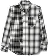 Gap Poplin mix-plaid button-down shirt